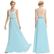 Long Chiffon Bridesmaid Evening Formal Party Cocktail Dress Gown Prom Size 2-16