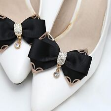 Bridal Wedding Black White Ivory Rhinestone Ribbon Bow Butterfly Shoe Clips