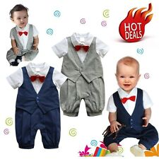 Baby Boy Wedding Christening Formal Tuxedo Suit Romper Outfit Clothes 00 0 1