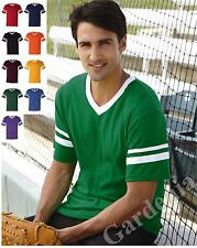 Augusta Sportswear 360 V-Neck Baseball Jersey W/Striped Sleeves NEW S-2XL Tee