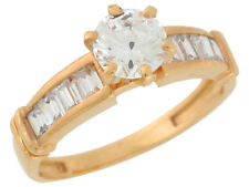 10k / 14k Yellow Gold Round and Baguette Cut White CZ Ladies Engagement Ring