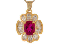 10k / 14k Yellow Gold Simulated Ruby and White CZ July Baby Floral Charm Pendant