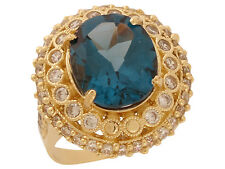 10k / 14k Gold White CZ Simulated Blue Zircon December Birthstone Statement Ring