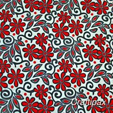 Red Floral Fabric - 100 % Cotton - Rose and Hubble - Sewing Projects