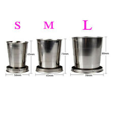 Hot New L/M/S Stainless Steel Portable Travel Folding Collapsible Cup Telescopic