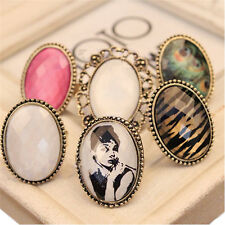 New Retro Style Big Rhinestone Ring Vintage Stone Fashion Girl 6 Colors Hot