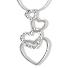 925 Silver Heart Pendant - Pendant With Hearts and Cubic Zirconia