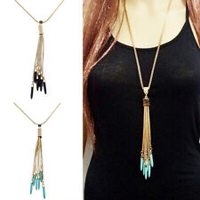 Turquoise Beads Pendant Long Tassel Necklace Gold Plated Alloy Sweater Chain