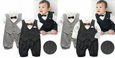 Baby Boy Wedding Tuxedo Suit Stripe Bowtie Romper Clothes Outfit NEWBORN 0-18M