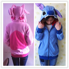 Cute  Stitch Zip Hooded Sweatshirt Cosplay Costume Hoodie Jacket