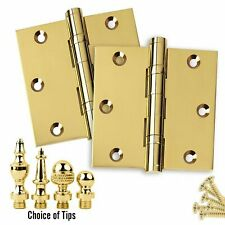 2 Door Hinges 3.5 x 3.5 Extruded Solid Brass Ball Bearing Polished Brass (US3)