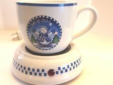 COLLECTIBLE CERAMIC MUG AND ELECTRIC CUP WARMER SET LET IT SNOW SCENE BEVERAGES