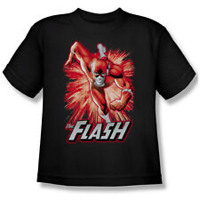 Justice League Of America Men's  Flash Red & Gray T-shirt Black Rockabilia