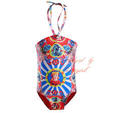 Girls Swimwear Summer Baby Kids Swimsuit Carretto Siciliano Print Toddler Bikini