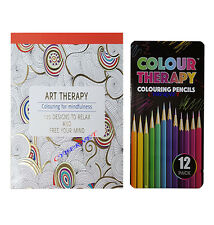 ADULT & CHILDREN Anti Stress Therapy Colouring Book + 12 ARTIST PENCILS WITH TIN