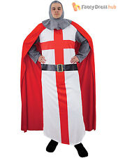 Mens St George Knight Costume Adults English Guard Fancy Dress Medieval Outfit