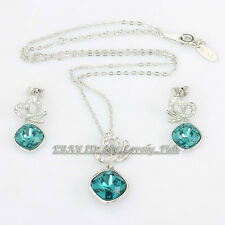 Fashion Simulated Sapphire Butterfly Earrings & Necklace Set 18KGP Rhinestone CZ