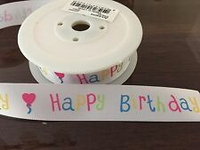 HAPPY BIRTHDAY RIBBON CAKE TOPPER OR GIFT WRAP 25mm
