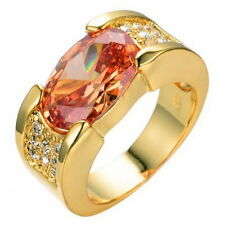 Islamic Exquisite Men Jewelry Champagne Topaz 10KT Yellow Gold Ring EID Gorgeous