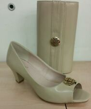 Lotus Amber Beige Nude patent Peep toe court shoe and Matching Handbag rrp £120