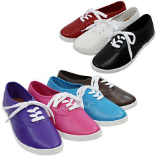 Womens Canvas Round Toe Lace Up Flat Plimsoll Sneaker Casual Tennis Shoes New