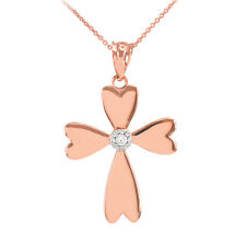 14k Rose Gold Solitaire Diamond Heart Cross Pendant Necklace