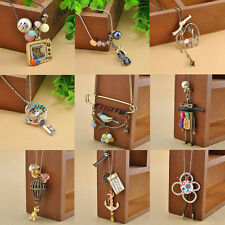 Balloon Robot Charms Anchor Rudder Pendant Necklace Vintage Long Sweater Chain