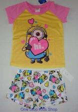 DESPICABLE ME Girls 4 6 8 10 Pjs Set PAJAMAS Shirt Shorts MINION