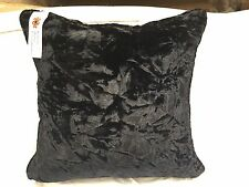 "4 x New Black Crushed Velvet Cushions and Duck Feather Pads 16"" x 16"" (40x40)"