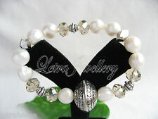 10mm White Real Cultured Freshwater Pearl Silver Plated Beads Bracelets Gift