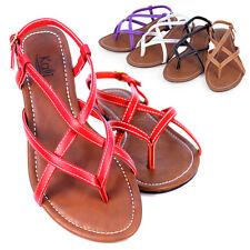 Womens Strappy Buckle Strap Open Toe Gladiator Thong Flat Sandals Shoes New