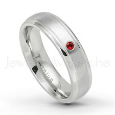 January Birthstone Ring, 0.07ctw Garnet Ring, 6mm Titanium Wedding Band TM399