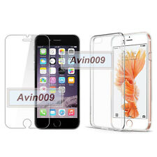 For iPhone 6 6S Tempered Glass Film Screen Protector & soft tpu clear gel CASE