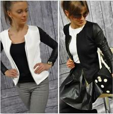 New Womens Jacket PU Leather Stitching Outwear Collarless Biker Bomber Coat L178