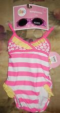 Circo Pink Ruffle Baby Infant One Piece Swim Suit Bathing & Sunglasses NWT