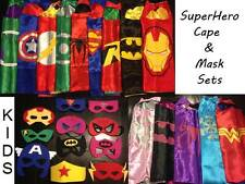 Adult SuperHero Satin Cape Felt Mask Costume Fancy Dress Up Play Party FUN Kids