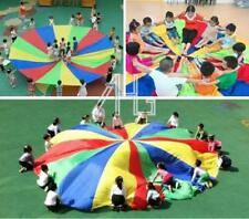 Kids Children Play Rainbow Parachute 8-Handles Outdoor Game Exercise Sport Toy