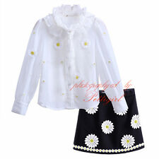 Girls Daisy Outfits 3Pcs Kids Clothes Long Sleeved Shirt Top + Vest + Skirt Sets