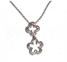 Crystal Two Flower  Pendant  Necklace, Made with SWAROVSKI® Crystals.