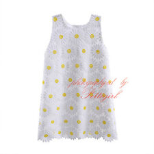Toddler Girls Tank Dress Kids Baby Embroidery Daisy Flower Summer Holiday Party