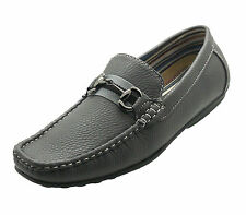 NEW Mens Reverse Dress Formal Casual Loafer Italian Slip-on Leather Shoes GREY