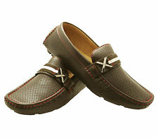 NEW Mens Faranzi Dress Formal Casual Loafer Italian Slip-on Leather Shoes BROWN