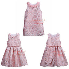 Summer Girl Dress Flower Pearls Toddler Princess Birthday Wedding Recital Party
