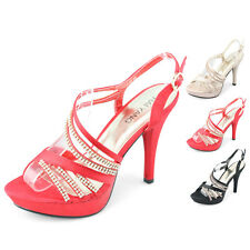 ladies evening dress party cocktail sexy sandal high heels shining shoes sizes