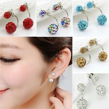 1Pair Round Shape Women Ear Stud Resin Rhinestone Pierced Ear Jewelry Earring SU