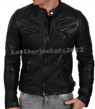 Mens Black Leather Jacket sheep Leather OR Faux Biker slim fit Style M054