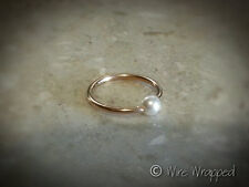 Captive Bead Ring Navel Belly Septum Hoop VARIETY 14k Gold / Silver w/ FW PEARL