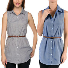 Women Casual Pinstripe Button Down Belted Sleeveless Shirt Tunic Dress Top