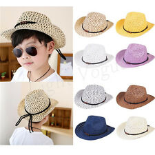Summer Kids Children Girls Boys Unisex Bead Holow Out Straw Cowboy Cap Sun Hat