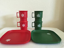 Vintage Tupperware Christmas Cups Coasters Red Snowflake Green Dove Mugs w Trays